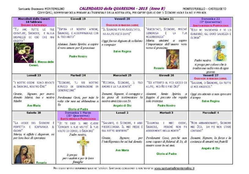 Calendario Anno 2015.Calendario Della Quaresima 2015 Anno B
